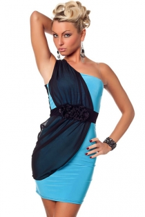Color Block One-shoulder Mini Dress in Black and Blue With Draped Chiffon Fabric Under Ruffle Belt