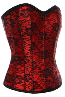Red Victorian Corset With Black Floral Lace Overlay, Sweetheart Neckline and Black Lace Trim