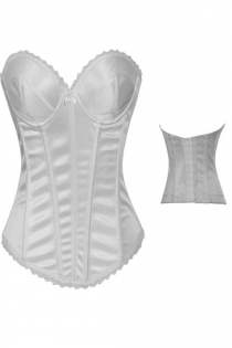 Intimate Satin White Corset With Underwired Cups, Light Lace Trim and Center Bow, Hook-eye Back Closure