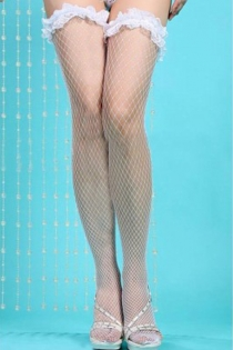 Retro White Fishnet Thigh-High Stockings With Lacy Garters