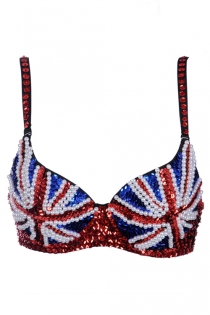Dazzling Red Blue Accents With White Small Pearls Sequence on a Black Bra Australian Flag Inspired Design