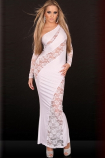 Red-Carpet White Maxi Dress With Curvy Lace Bands and Single Sleeve, Solid Back and Detached Lace Sleeve