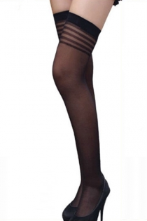 Semi-Sheer Black Thigh-High Stockings With Narrow Welts and Striped Shadow Welts