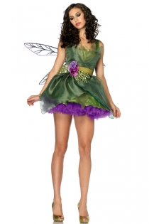 Elegantly Designed Sheer Smooth Green Fabric With Luscious Violet Underlayer Laces Tinkerbell Inspired Design