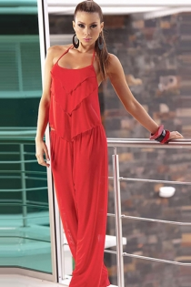 Sheer Red Harem Set With Layered Open-Back Camisole and Elastic Waist Wide Pants