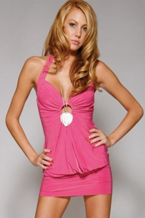 Little Black Mini Dress With Halter Neck, Toggle Ruched Bust, Comfortable Bodice and Tight Skirt