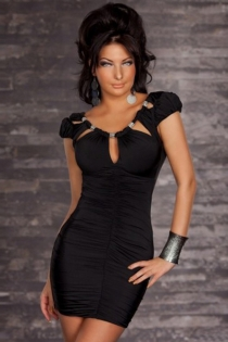 Black Mini Dress With Ruched Bodice, Puff Sleeves and Scoop Keyhole Neckline With Metalic Accents