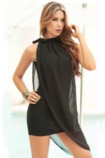 Exquisite Soft Lightly Sheer Black Tight Fit Partly Overlaid By a Smooth Flowing Fabric Gorgeous Neck Ribbon