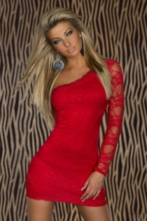 Red One-Shoulder Lace Bodycon Clubwear Mini Dress With Sexy Semi-Sheer Arm