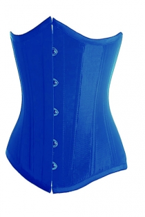 Essential Electric Blue Satin Underbust Corset With Simmering Effect for Every Occasion, Front Busk