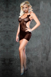 Playful Black Fishnet Chemise, Short With Cut-out Sides, Criss Cross Back and Spaghetti Straps With Bows