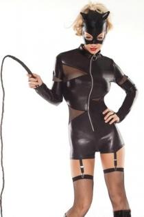 Exotic Cat Woman Stylish Design Velvety Black Longsleeve Short One Piece Design With Sheer Black Patterns