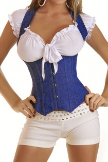 Ocean Blue Denim Underbust Corset With Wide Halter Straps, Front Busk
