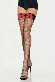 Black Fishnet Thigh-High Stockings With Silicon Lacy Welts and Red Satin Bows