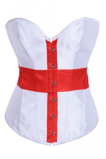 Satin Overbust Corset With Red and White English Flag Design, Hook and Eye Closures, and Lace-up Back