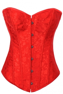 Fiery Red Victorian Corset With Discreet Floral Brocade Pattern, Modesty Cover, Front Busk