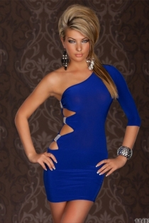 Electric Blue Bodycon Mini Dress, One-shoulder With 3/4 Sleeve and Cut-out Sides Studded With Rhinestones