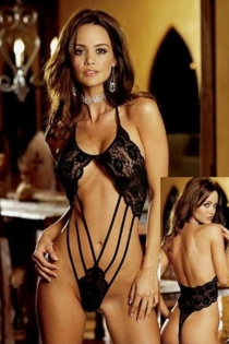 Black Floral Lace Thong Teddy With Halter Neck, Bare Strappy Midriff and Open Back