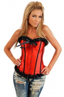 Red Satin Corset With Black Ruched Ribbon Trim, Strips and Bow, Front Busk