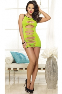 Neon Green Reversible Micro Dress With Revealing Cut-out Circles and Black Style Lines