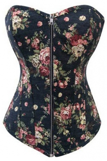 Black Denim Corset With Retro Floral Pattern and Mild Sweetheart Neckline, Front Zipper Closure
