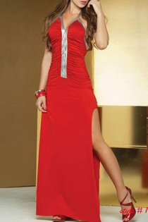 Red Maxi Halter Gown With Thigh Splits, Silver Trimmed Neckline and Silver Strip Down the Ruched Bodice