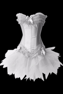 White Satin Swan Corset Dress With Ruched Ruffle and Bows at Bust and Bottom and Matching Tutu Skirt
