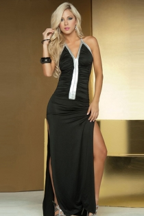 Black Maxi Halter Gown With Thigh Splits, Silver Trimmed Neckline and Silver Strip Down the Ruched Bodice