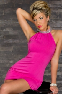 Elegant Hot Pink Mini Dress With Rhinestone Turtle Neck, Cowl Back and Bodycon Skirt