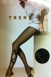 Black Sheer Full-Length Stockings With Black and White Floral Print on the Bottom Outside Leg