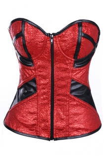 Delicately Wrinkled Red Center Zipped Front Bodice Glossy Pitch-Black Sequence Crisscrossed Ribbony Stylish Back