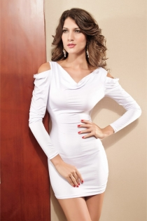 Stretch-Fit White Bodycon Clubwear Dress With Full Sleeves, V-Neckline and Cut-Out Shoulder