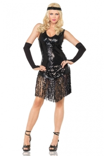 Alluring Broadway Diva Glistening Black Sleeveless With Finely Accentuated Threadlike Strings Lower Style