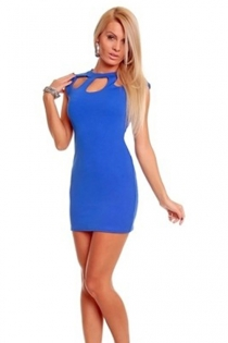 Blue Mini Dress With Jewel Keyhole Neckline, Cap Sleeves and Back Zipper