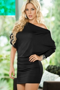 Black Mini Dress With Combination Bell and Bat Sleeve With Metalic Accent