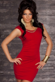 Red Mini Dress Featuring Double Gold Chains on Scoop Neckline and Low Back Zipper