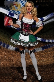 Playfull Cabaret Girl With Glossy White Ruffled Top Gorgeous Bodice and Nicely Layered Green and White Skirt