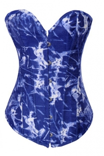Blue Denim Corset With a Psychedelic White and Lighter Blue Pattern, Front Busk