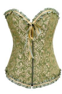 Olive Drab Corset With Gold Brass Brocade Pattern, Olive Green and Peach Ruched Ribbon Trim, Front Zipper