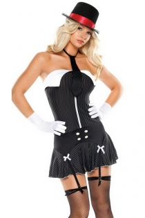 Playful Office Suit Designed Smooth Black Tight Fit White Thin Stripes Mini Dress