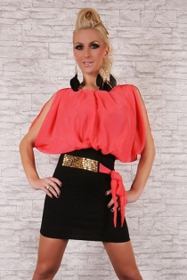 Sophisticated Bloomed Rose Pink Top Round Neck Skimpy Tight Fitted Black Skirt Sparkling Accent
