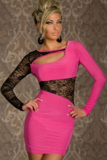 Pink Full-Sleeved Bodycon Dress With Semi-Sheer Lace Inserts and Slash Neck