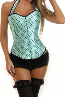 Pin-up Mint Halter Corset With Black Polka Dots and Trim, Front Busk