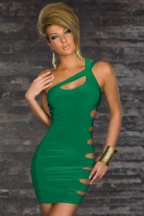 Green Bodycon Mini Dress With Crossing One-shoulder Straps and Revealing Cut-out Side Circles