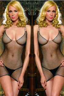 Short Black Fishnet Bodystocking Dress With Low Scoop Neck and Double Spaghetti Straps