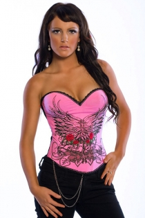Pink Tattoo Corset With Wings, Roses and a Sprinkle of Diamante, With Black Lace Trim