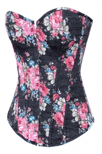Spring-Time Black Overbust Denim Corset With Retro Rose Flower Pattern, Front Busk