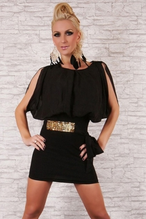 Sophisticated Bloomed Black Top Round Neck Skimpy Tight Fitted Black Skirt Sparkling Accent