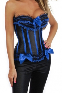 Plus Size Black Satin Training Corset With Blue Bows and Strips, and Combination Lace Ruffle Trim