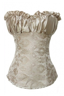 Apricot Lace Sleeveless Overbust Corset With Super Soft Ruffled Satin Neck and Tie Back